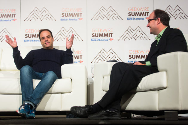 Stack Overflow CEO Joel Spolsky chats with GeekWire's Todd Bishop. (Dan DeLong for GeekWire)