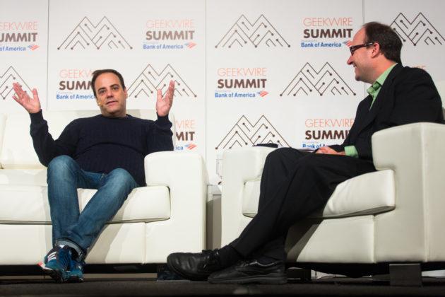 Stack Overflow CEO Joel Spolsky chats with GeekWire's Todd Bishop. (Dan DeLong for GeekWire)