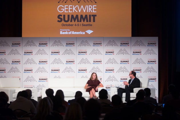 Microsoft Executive VP Peggy Johnson speaks at the GeekWire Summit.