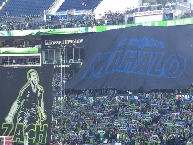 The Sounders Army pays tribute to Zach Scott during his final match. Photo via Dave Cook.