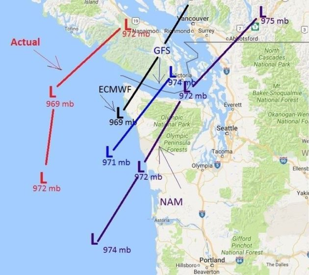 This chart shows three of the forecast tracks that the National Weather Service's meteorologists were looking at on Saturday morning (in black, blue and purple), as well as the actual track that the storm took (in red). Credit: NWS / Google Maps