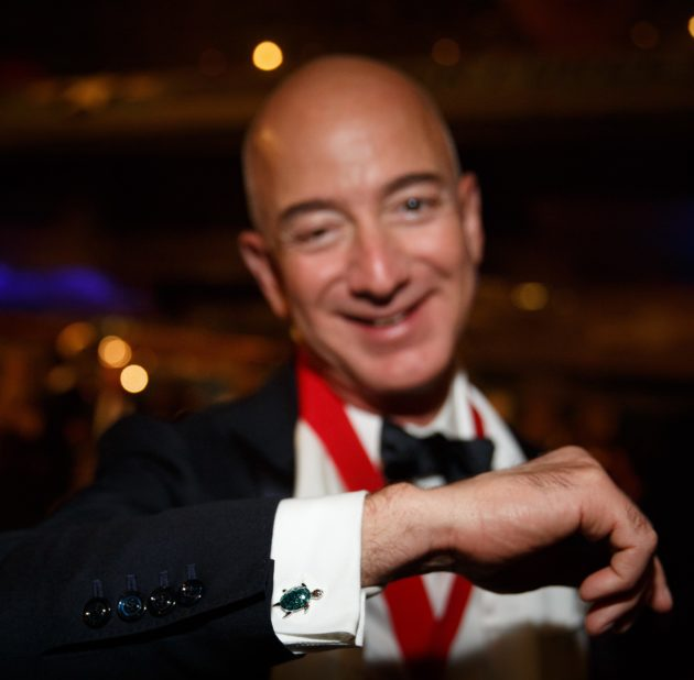 Jeff Bezos with tortoise cufflink