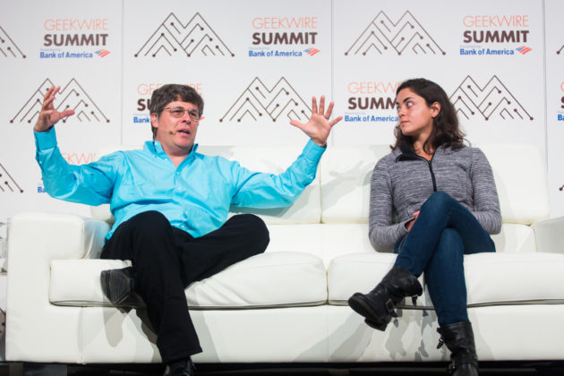 Oren Etzioni and Shivon Zilis talk artificial intelligence at the GeekWire Summit. (Dan DeLong for GeekWire)