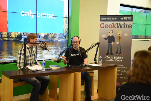 GeekWire's John Cook and Todd Bishop will bring the GeekWire podcast to Fox's Seattle Oct. 13th.