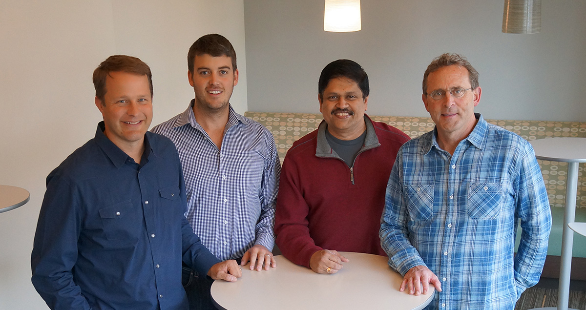 (L-R Jason Needham, CMO; Paul Allen, CTO; S. Somaseagar, Venture Partner; Tom Hull, CEO)