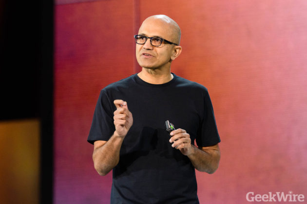 Satya Nadella speaks at Microsoft Ignite 2016 (Photo by GeekWire/Kevin Lisota)