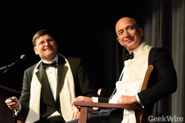 Jeff Bezos at the Museum of Flights 2016 Pathfinder Awards. (Photo by GeekWire/Kevin Lisota)