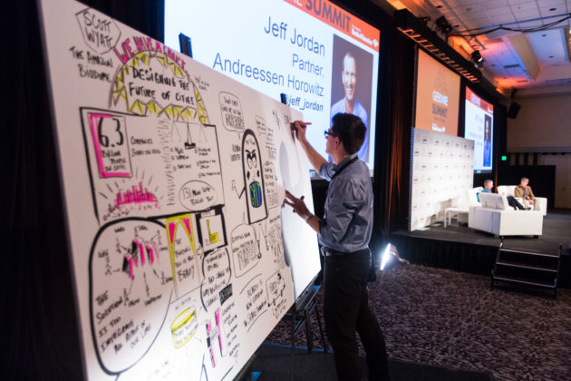 Visual strategist Guillaume Wiatr at work during the GeekWire Summit in Seattle. (Photo by Dan DeLong for GeekWire)