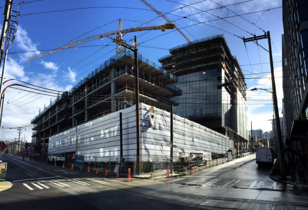 Amazon construction in South Lake Union.