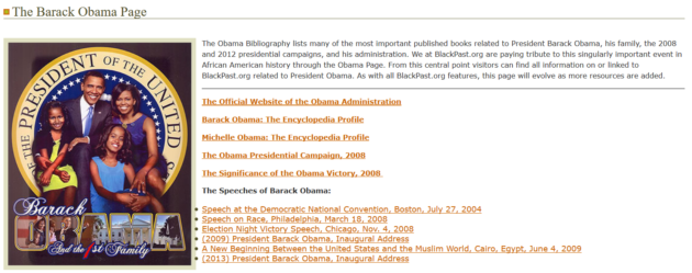 BlackPast's current page featuring President Obama.