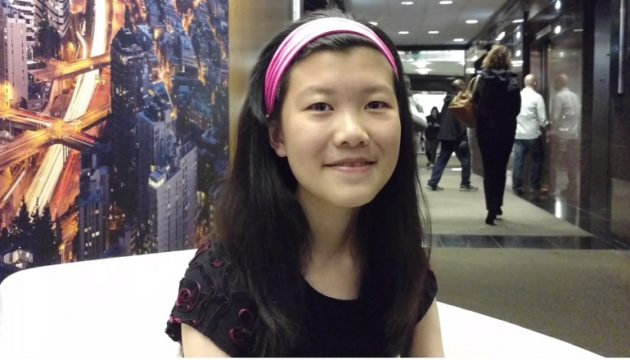 """Belle Pan, a 13-year-old student at Lakeside School in Seattle. Pan will pitch iRummage, her startup seeking to be an""""OfferUp for schools,"""" at the SVP Fast Pitch Finals on October 25. Photo: Social Venture Partners."""