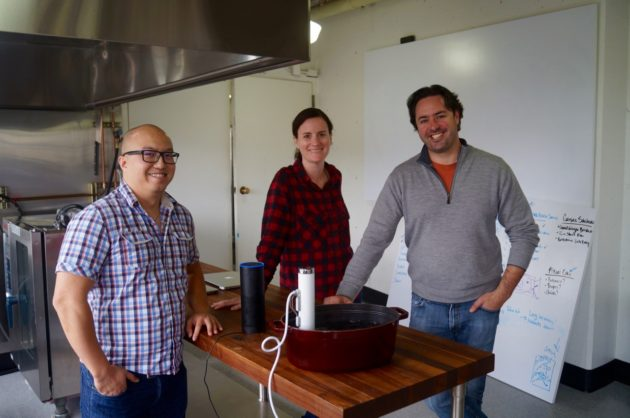 ChefSteps' Huy Nguyen, Jessica Voelker and Chris Young at the company's offices in Pike Place Market. Nat Levy / GeekWire Photo.