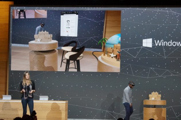 A demonstration of how 3D images and virtual reality can make it easier to buy furniture on line. GeekWire Photo / Nat Levy.