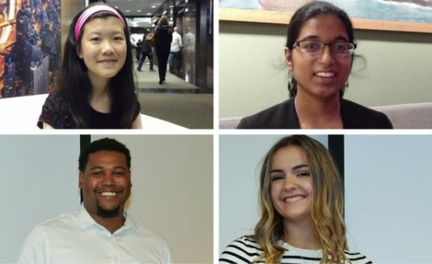 The Fast Pitch finalists in the student category. Clockwise from top left: Pan; high school student Neha Hulkund of STEMcademy; college student Annie Roethe of SafeCase; and college student Miguel Willis of ATJ Tech Fellowship Program. Photo: SVP.