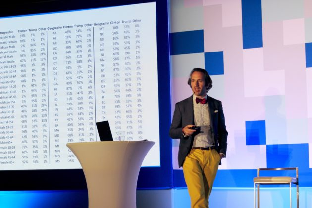 Microsoft's David Rothschild talks polling and the presidential election at Seattle Interactive conference Tuesday. GeekWire Photo / Taylor Soper.