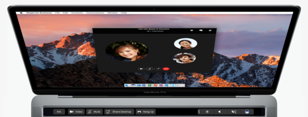 Skype for Business on the MacBook Pro with Touch Bar support. (Microsoft Photo)