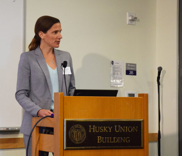 SCTL Director Anne Goodchild speaks at the launch event on Wednesday. Photo via Brooke Fisher/University of Washington.