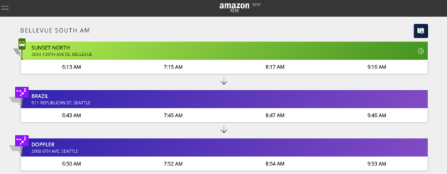 The schedule for Amazon Ride buses from Bellevue to Amazon's Seattle campus.