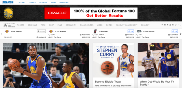 The Warriors redesigned their homepage to focus more on content.