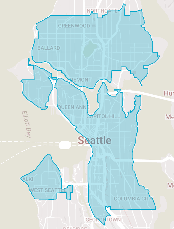 ReachNow's coverage map in Seattle.