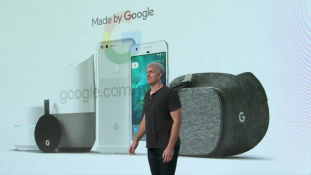 Rick XXX of Google talks about the company's new hardware releases at an event Tuesday.