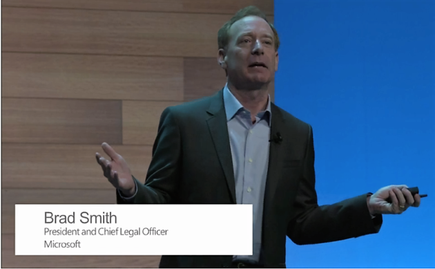 Microsoft President Brad Smith addresses a conference in Dublin Oct. 3, 2016, via webcast.