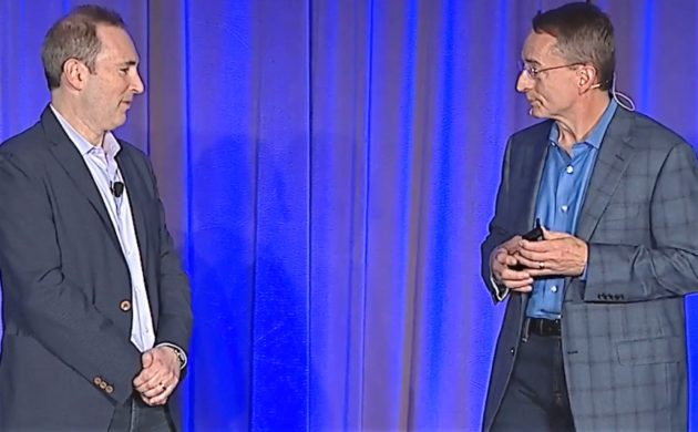 Amazon Web Services chief Andy Jassy (left) and VMware CEO Patrick Gelsinger at today's announcement