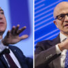 Amazon CEO Jeff Bezos and Microsoft CEO Satya Nadella. (Photos courtesy of the Space Foundation, Microsoft).