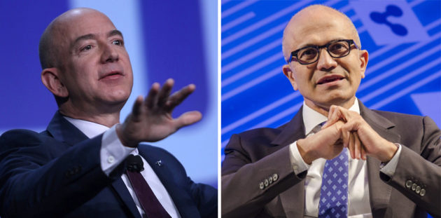 Amazon CEO Jeff Bezos and Microsoft CEO Satya Nadella. (Photos courtesy of the Space Foundation, Microsoft).