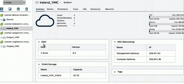 A screenshot showing AWS managing VMware virtualization