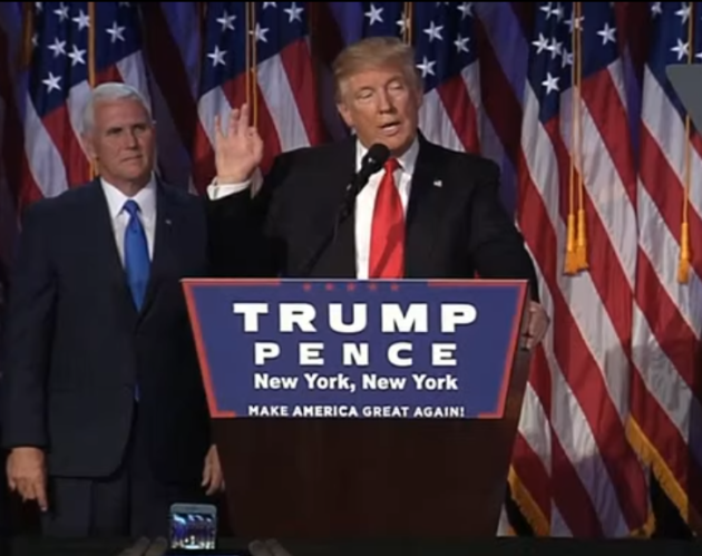 President-Elect Donald Trump addresses a victory rally at the New York Hilton Midtown, with Vice President-Elect Mike Pence at his side. (Credit: Right Side Broadcasting)