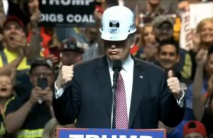 Trump with coal miner's helmet