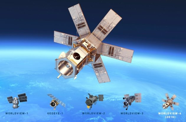 An artist's conception shows WorldView-4 and the other satellites in DigitalGlobe's Earth-imaging constellation. (Credit: DigitalGlobe)