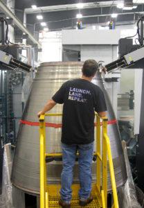 Blue Origin's EDM machine at work