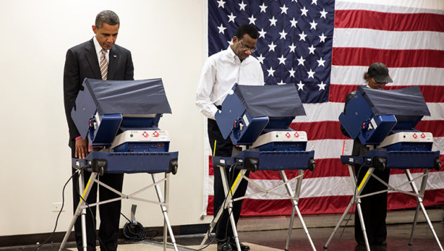 President Barack Obama casts an early ballot in the 2012 election. (White House File Photo)