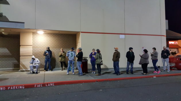 Only the first five of these shoppers waiting outside the Everett Target at 6:30 this morning were able to buy the NES Classic Edition