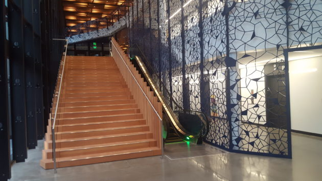 The entrance to Amazon's Day One building in Seattle. GeekWire Photo / Nat Levy.