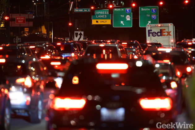 Traffic on Seattle's Mercer St at rush hour (Photo by GeekWire/K