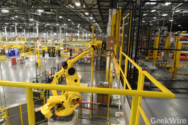 Cyber Monday 2016 at Amazon Fulfillment Center in Dupont Wash. (GeekWire Photo /Kevin Lisota)
