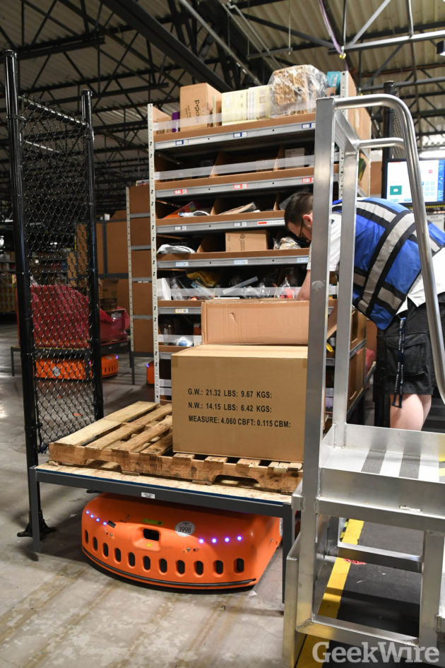 Cyber Monday 2016 at Amazon Fulfillment Center in Dupont WA. (Photo by GeekWire/Kevin Lisota)