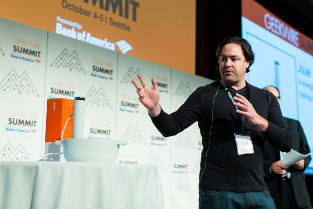 Chris Young, co-founder of ChefSteps demonstrating the Joule sous vide cooking device at GeekWire Summit 2016. Photo by Dan DeLong for GeekWire