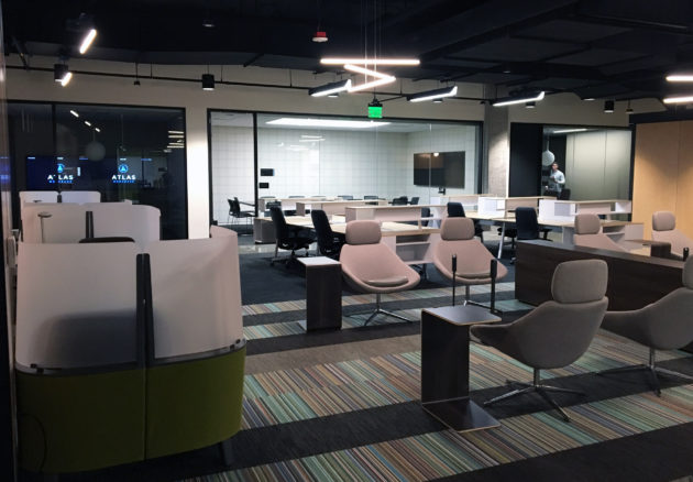 Atlas Workbase has a variety of different meeting rooms, desks and seating options. Credit Atlas Workbase.