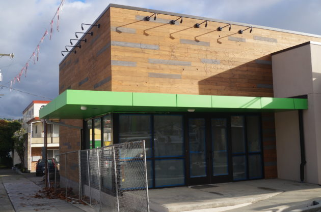 Amazon's drive up grocery store in Seattle's Ballard neighborhood is coming together. (GeekWire Photo / Nat Levy)