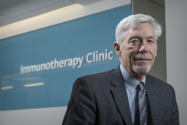 Dr. David Maloney, medical director of the Bezos Family Immunotherapy Clinic, in the facility. The Clinic is the first of its kind and solely geared towards researching immunotherapy treatments for advanced cancers. Photo: Fred Hutchinson Cancer Research Center.