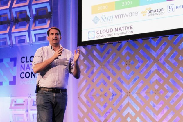 Dan Kohn, Executive Director of the Cloud Native Computing Foundation, addresses the 1000+ attendees at CloudNativeCon + KubeCon in Seattle Nov. 8, 2016 (Dan Richman/GeekWire)