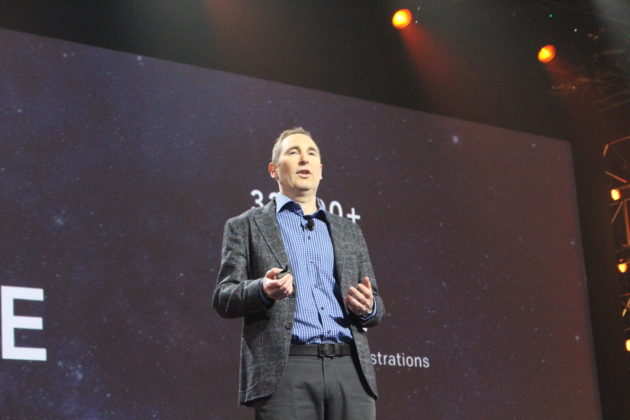 AWS CEO Andy Jassy addresses re:Invent 2016 in Las Vegas Nov. 30, 2016. (Dan Richman/GeekWire)
