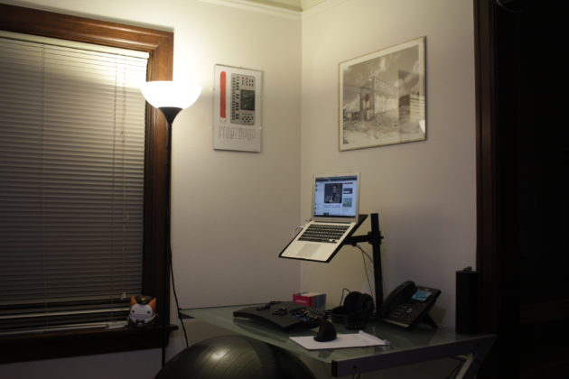 Tyler Menezes' work station at home.