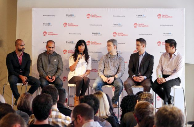 From left to right: Socedo CEO Aseem Badshah; 9Mile Labs co-founder Sanjay Puri; Poppy CEO Avni Patel Thompson; Ripl CEO Paul Ingalls; WiBotic CEO Ben Waters.