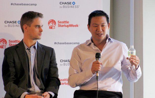 BitTitan founder Geeman Yip (right) speaks on Monday at Seattle Startup Week.