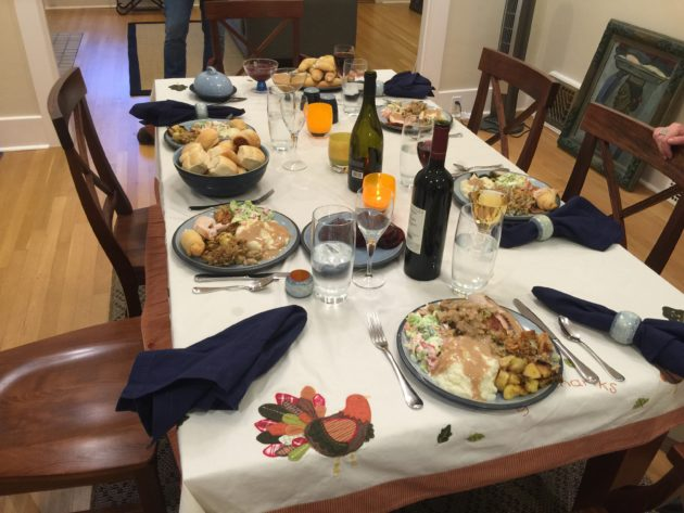 Thanksgiving table at the Rossi house. (GeekWire Photo / Daniel Rossi)